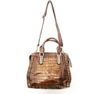 Bueno Metallic Crocodile Embossed Crossbody Purse